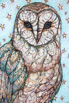 Illustration art stars bird owl marker barn owl artists on tumblr prismacolor