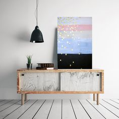 etsyfindoftheday:  etsyfindoftheday 2 | 7.21.15 large original abstract stripes painting by mossandblue pump up your apartment walls with a large original abstract painting — mossandblue's designs are unique and colorful. i love this gold square-dotted piece.