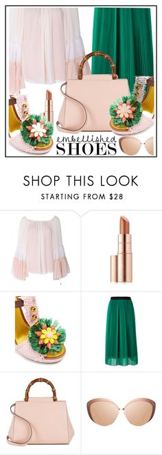 """style embellished shoes"" by sandevapetq ❤ liked on Polyvore featuring Chloé, Estée Lauder, Dolce&Gabbana, MSGM, Gucci and Linda Farrow"