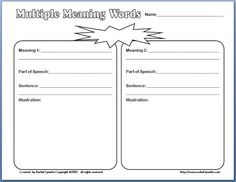 Classroom Freebies: Multiple Meaning Words