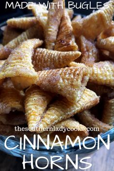 Cinnamon Bugles 4 Ingredients The Southern Lady Cooks is part of Snack mix recipes - These Cinnamon Bugles are so easy! They are only 4 ingredients and take 5 minutes to make The cinnamon and sugar add so much to the saltiness of the chip Snack Mix Recipes, Dessert Recipes, Cooking Recipes, Snack Mixes, Chex Recipes, Cinnamon Recipes, Cooking Games, Fudge Recipes, Easy Snacks