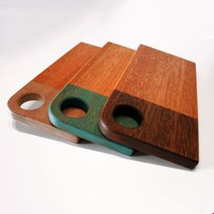These colorful cutting boards are a great fit in any kitchen and are versatile. Use them as a serving platter, a cheese board, a cutting surface and a display piece. Made from reclaimed sapele and finished with safe and non-toxic milk paint followed by a beeswax