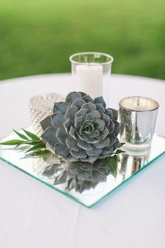 Garden Wedding Centerpiece Inspiration | Place a single succulent paired with votive candles on a mirror for a super chic look.