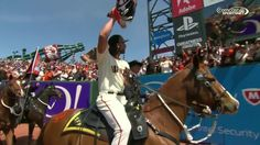 Madison Bumgarner Rides a Horse at Giants' 2015 Home Opener | Bleacher Report