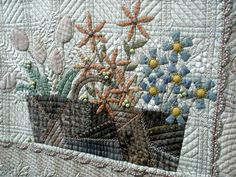 Yoko Saito, I love how she did this basket with crazy quilting.