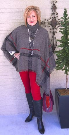 50 IS NOT OLD | THE DAY BEFORE THE NIGHT BEFORE CHRISTMAS | Poncho | Red and Gray | Fashion over 40 for the everyday woman