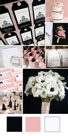 Light pink and black; Bottom Left Photo. Roses in black vases <3 plus a light hydrangea green