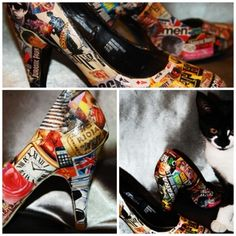 decoupage shoes. I'd like to try them with prints of retro pulp fiction novels.
