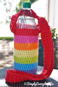 Rainbow Crocheted Water Bottle Sling http://www.etsy.com/shop/SimplyEverydayMe?ref=si_shop  simplyeverydayme.blogspot.com  everydayscrapbook.blogspot.com