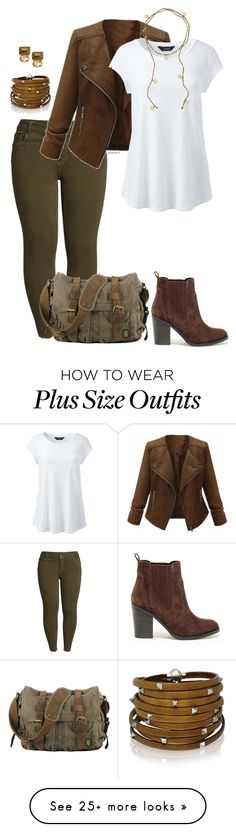 """Easy day- plus size"" by gchamama on Polyvore featuring KUT from the Kloth, Lands' End, Sif Jakobs Jewellery, Sole Society, White House Black Market and plus size clothing"