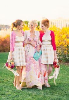 Bridesmaids in Gold Striped Dresses with Bright Cardigans | Kat Harris Photography | Playful Pink and Gold Preppy Bridal Shoot
