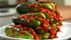 Spicy stuffed cucumber kimchi (Oi-sobagi) - leaving out the sugar and using Red Boat fish sauce would make this paleo