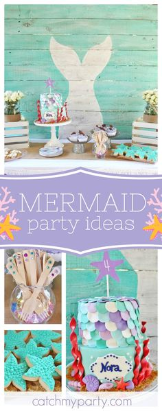 DIve in and check out this amazing Mermaid birthday party. The cookies are adorable!! See more party ideas and share yours at CatchMyParty.com