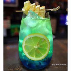 AVA  1 1/2 oz. (45 ml) Bacardi 1 oz. (30 ml) Green Apple Vodka 1/2 oz. (15 ml) Triple Sec 1/2 oz. (15 ml) Lemon Juice Top with Apple Juice Splash of Blue Curaçao