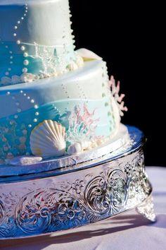 The Little Mermaid themed wedding cake! So freaking cool!