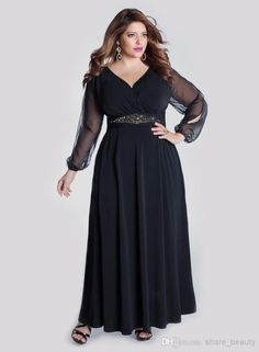 8e43826d68e Best Selling Black Chiffon Plus Size Special Occasion Dresses Empire Ankle  Length V Neck Long Poet Sleeve Beads Sash 2014 Inspired Dresses Plus Size  Formal ...