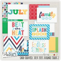 Snap Happier: July 2015 Journal Cards 2 by Bella Gypsy Designs