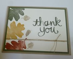 Simple Fall Thank You Card Using Stampin' Up!'s For All Things Stamp Set and Watercolor Thank You.  This is a simple card good for anyone to try!  For details go to my Wednesday, September 17, 2014, blog at http://kmaurer.stampinup.net