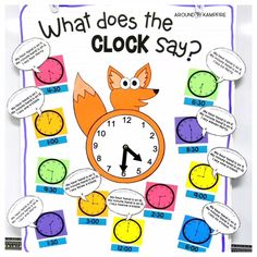 These first and second grade telling time activities are ideal for high engagement practice of reading and writing time to the hour, half hour, quarter hour, and nearest 5 minutes. The anchor chart doubles as a game board for the lessons. The math/writing Time Games For Kids, Math For Kids, Fun Math, Math Games, Math Activities, Activities For 1st Graders, Math Songs, Preschool Themes, Preschool Printables