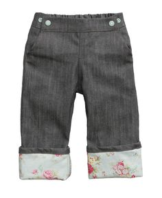 Vintage Teal Cuffed Little Hipster Jeans for Babies/Toddlers by Project Pomona