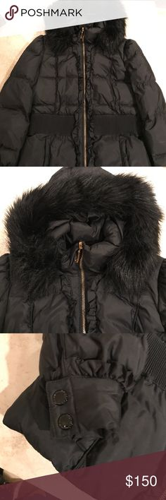 Juicy Couture black puffer jacket Juicy Couture - Black down winter jacket with fur hood. Ruffle detail on the back with cinched waist. Gold zipper accents. I'm great condition (no stains, zippers work) Juicy Couture Jackets & Coats Puffers