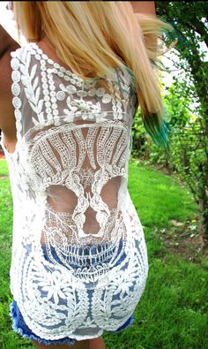 NEW Candy Skull Crochet Back Boho Tank Top - BeIge or Pink Lace Tank NEW on Etsy, € 26,99