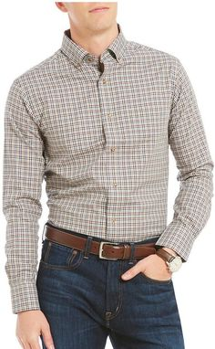 Daniel Cremieux Check Fine Twill Long-Sleeve Woven Shirt