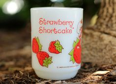 Strawberry Shortcake Fire King Milk Glass Coffee by WildMushrooms, $6.50
