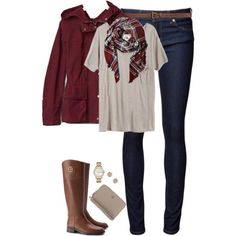 Deep red, tan & plaid by steffiestaffie on Polyvore featuring Mlle Mademoiselle, Gap, Naked & Famous, Tory Burch, Marc by Marc Jacobs, Dorothy Perkins and H&M