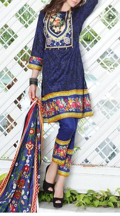 Buy Royal Blue Embroidered Cotton Lawn Dress by Mahnoor 2016