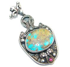 $82.55 Big!+Vintage+Style++Genuine+Turquoise+Ruby+Sterling+Silver+Pendant at www.SilverRushStyle.com #pendant #handmade #jewelry #silver #turquoise