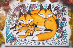 Еще совсем немного и можно шуршать листьями!  А у меня имеется такая вот семейная лисья пара с лисятами, но может стать Вашей  А4 формат,  акварель. Art By Vera Gnat - уютные картины на заказ, по всем вопросам пишите в лс  #artbyveragnat #aquarelle #illustration #fox #foxes #watercolorart #watercolor #watercolorillustration #watercolorblog #art #instaart #kharkiv #myartwork #painting #decor #artistgallery #autumn #drawing #picture #family #акварель #рисунок #творчество #лисы #лиса #кар...