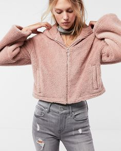 An unbelievably supersoft zip-up jacket with a cozy oversized hood and long, on-trend bell sleeves. It's done in a cropped length that looks amazing with high-waisted skirts and pants.