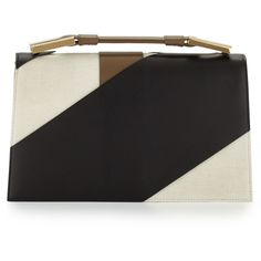 Jason Wu Charlotte Origami Canvas & Leather Evening Clutch Bag ($2,795) ❤ liked on Polyvore featuring bags, handbags, clutches, leather flap purse, top handle handbags, origami purse, leather handbags and evening purse