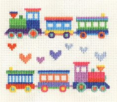 Cross Stitch TOY TRAINS - Childs Sampler ~ Full counted cross stitch kit all materials Cross Stitch For Kids, Cross Stitch Borders, Cross Stitch Baby, Counted Cross Stitch Patterns, Cross Stitch Designs, Cross Stitch Embroidery, Embroidery Patterns, Cross Stitch Train, Hand Embroidery