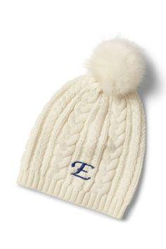 Womens Cashmere Cable Knit Hat - LXL - RED Lands End ZT55OwqsHr