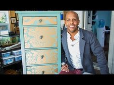 Home & Family - Tips & Products - Ken Wingard's Wallpaper Dresser Makeover Wallpaper Dresser, Wallpaper Furniture, Old Wallpaper, Decoupage Furniture, Antique Furniture, Refurbished Furniture, Painting Furniture, Wallpaper Ideas, Trendy Furniture