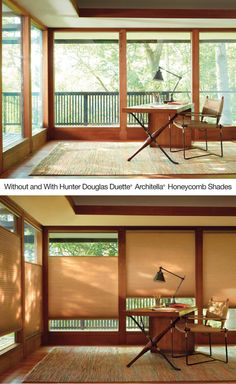 Add warmth to a room with the casual sophistication of  Duette® Architella® honeycomb shades ♦ Hunter Douglas window treatments   #HomeOffice