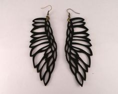 Leather jewelry  Martin Pescador earrings BLACK by by uyLaurel