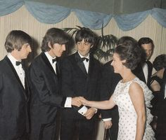 """29JUL1965 Princess Margaret meets The Beatles at the premiere of """"Help"""" at the London Pavillion"""