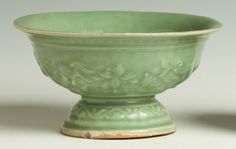 "Early Chinese Celadon Footed Bowl. Ming period. Relief dragons. Ht. 4 3/4"" Dia. 8"""