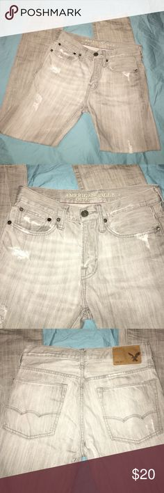 Distressed gray AEO Slim jeans Size 28/30 American Eagle Outfitters Jeans Slim Straight
