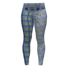 Hey June Handmade Sloan Leggings made with Spoonflower designs on Sprout Patterns. Catch a falling star by Floramoondesigns , Stars of the LA County fair by Amy_g and White water refractions by Maryyx