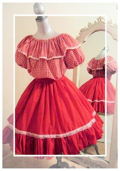 Square Dance Red Gingham Clown Costume Peasant by JazzieMenagerie, $45.00