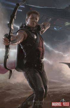 """Concept art for """"The Avengers"""" movie - Hawkeye / Jeremy Renner."""