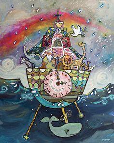 Noah's Ark Cuckoo Clock folk-style wall art print by Jen Norton. #noahsark #cuckooclock #animalart #rainbow #childsroomdecor #makeartthatsells