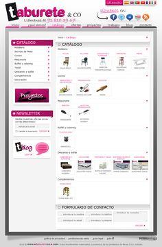 Sitio Web que muestra los productos de la empresa Taburete & co, esta empresa dedicada a la venta de distintos tipos de sillas y sillones se encuentra en España y busca ampliar su mercado a través de la difusión de sus productos en Internet.