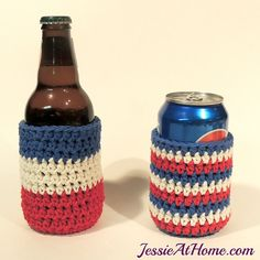 Red white and blue striped #crochet can cozy free pattern @jessie_athome