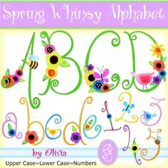 Spring alphabet filled with flowers, birds, dragonflies and more.
