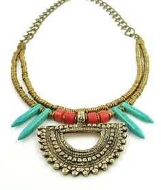 African+Ethnic+Jewelry | African Brass Turquoise Spike Tribal Love Pendant Layered Necklace
